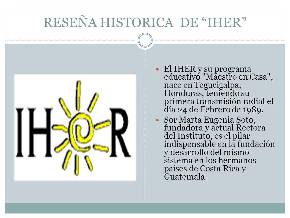 RESEÑA HISTORICA DE IHER El IHER y su programa educativo