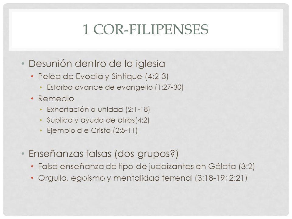 1 COR-FILIPENSES Desunión dentro de la iglesia Pelea de Evodia y Sintique (4:2-3) Estorba avance de evangelio (1:27-30) Remedio Exhortación a unidad (