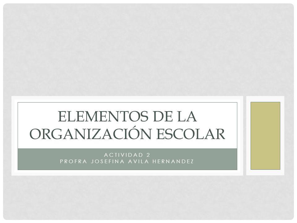 ACTIVIDAD 2 PROFRA JOSEFINA AVILA HERNANDEZ ELEMENTOS DE LA ORGANIZACIÓN ESCOLAR