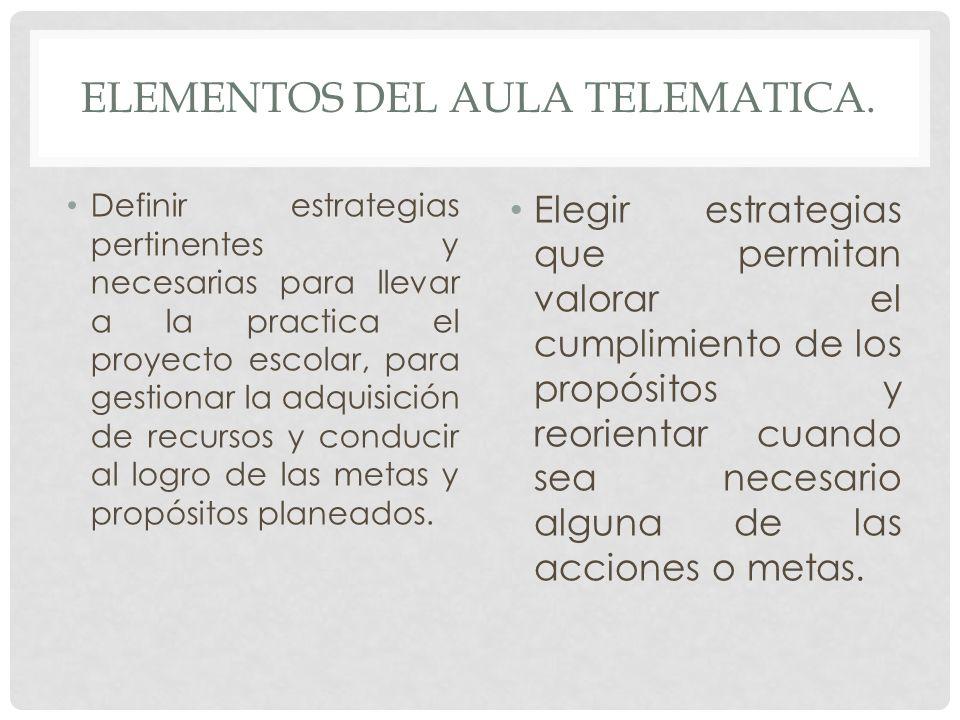 ELEMENTOS DEL AULA TELEMATICA. Definir estrategias pertinentes y necesarias para llevar a la practica el proyecto escolar, para gestionar la adquisici