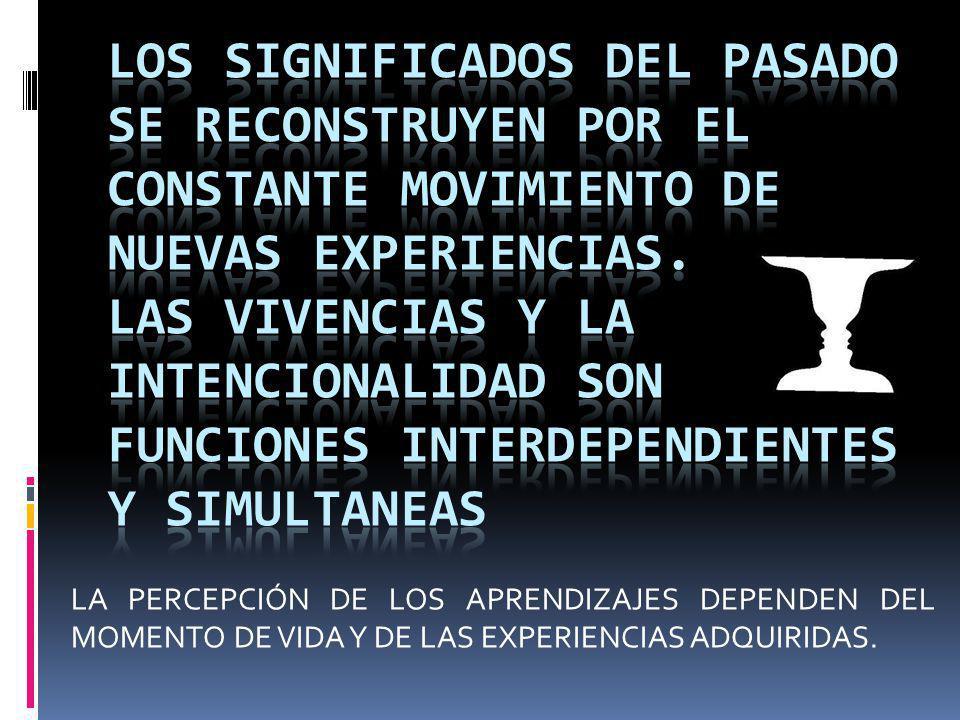 LA PERCEPCIÓN DE LOS APRENDIZAJES DEPENDEN DEL MOMENTO DE VIDA Y DE LAS EXPERIENCIAS ADQUIRIDAS.