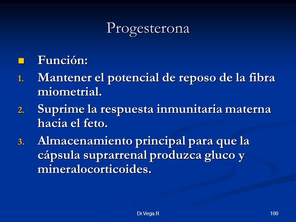 100Dr.Vega.R Progesterona Función: Función: 1. Mantener el potencial de reposo de la fibra miometrial. 2. Suprime la respuesta inmunitaria materna hac