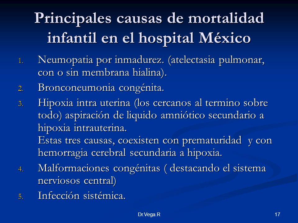 17Dr.Vega.R Principales causas de mortalidad infantil en el hospital México 1. Neumopatia por inmadurez. (atelectasia pulmonar, con o sin membrana hia