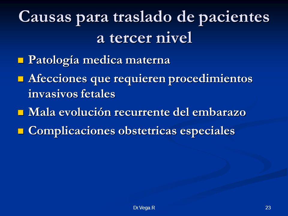 23Dr.Vega.R Causas para traslado de pacientes a tercer nivel Patología medica materna Patología medica materna Afecciones que requieren procedimientos