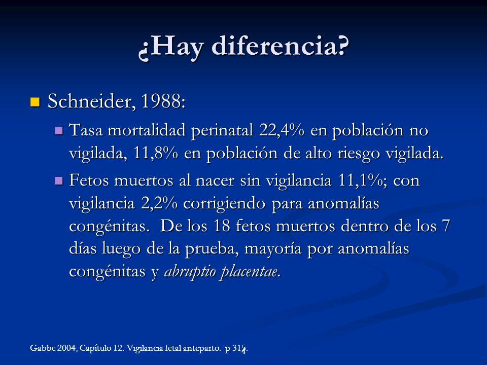 ¿Hay diferencia? Schneider, 1988: Schneider, 1988: Tasa mortalidad perinatal 22,4% en población no vigilada, 11,8% en población de alto riesgo vigilad