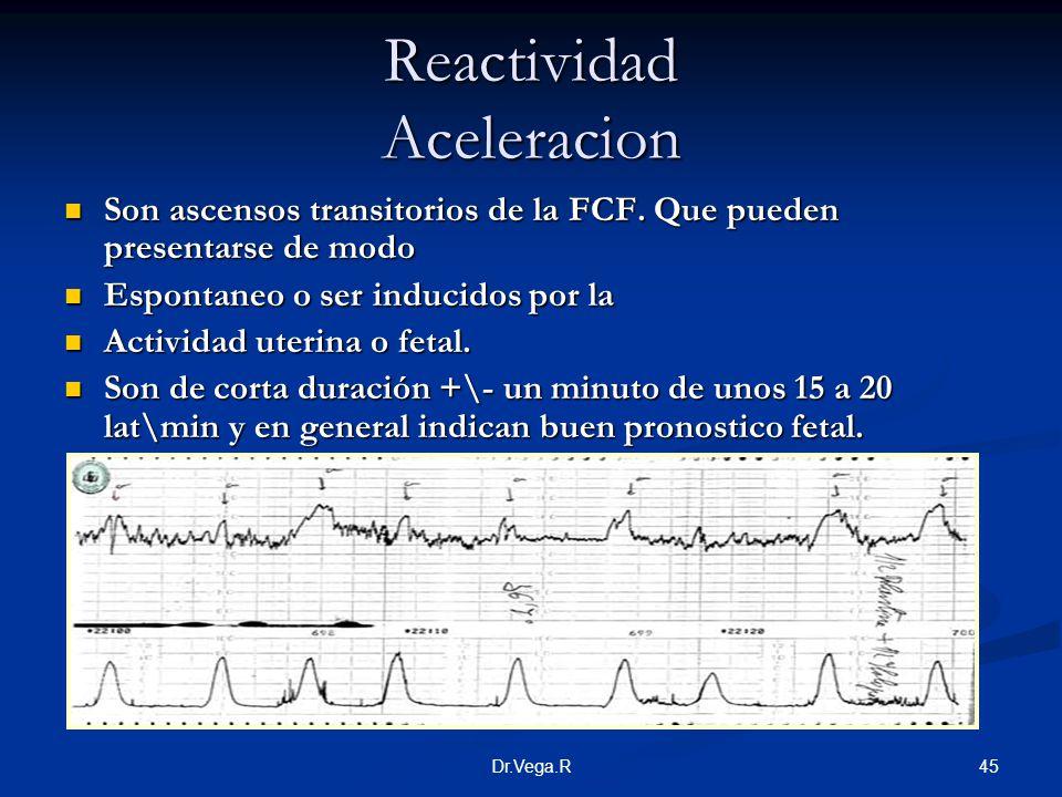 45Dr.Vega.R Reactividad Aceleracion Son ascensos transitorios de la FCF. Que pueden presentarse de modo Son ascensos transitorios de la FCF. Que puede