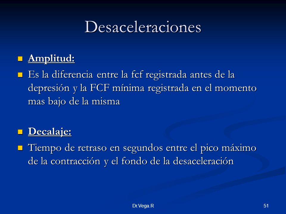 51Dr.Vega.R Desaceleraciones Amplitud: Amplitud: Es la diferencia entre la fcf registrada antes de la depresión y la FCF mínima registrada en el momen