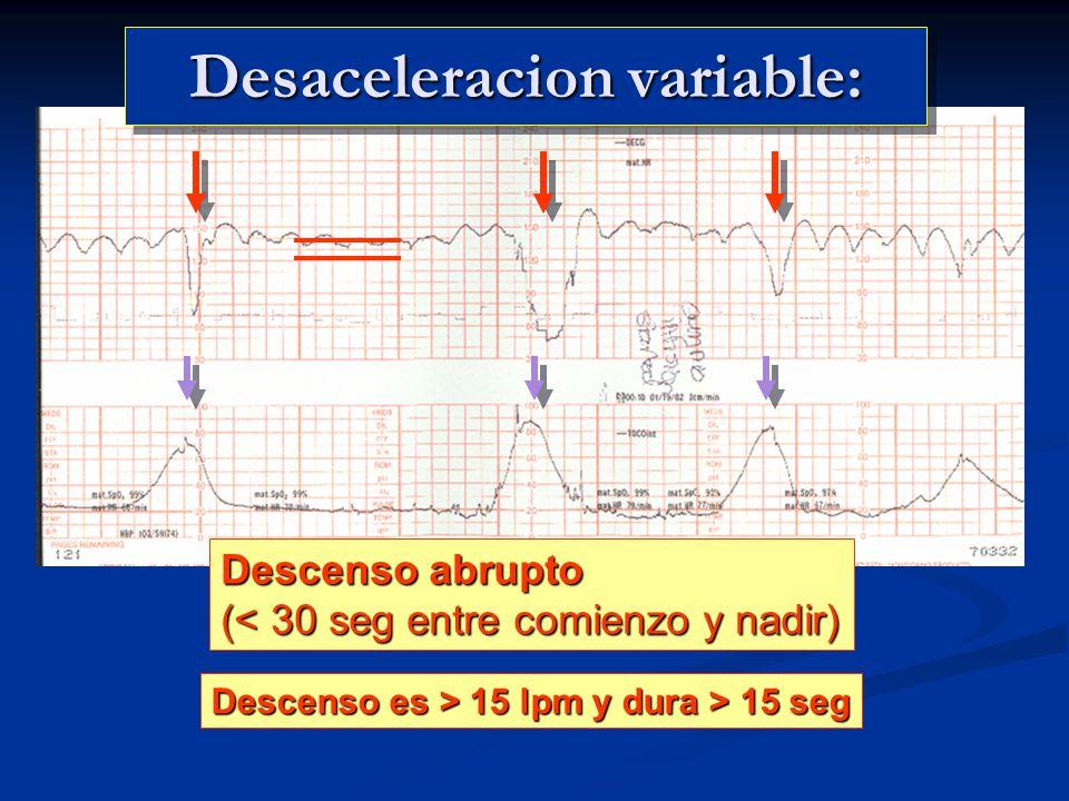 Desaceleracion variable: Descenso abrupto (< 30 seg entre comienzo y nadir) Descenso es > 15 lpm y dura > 15 seg