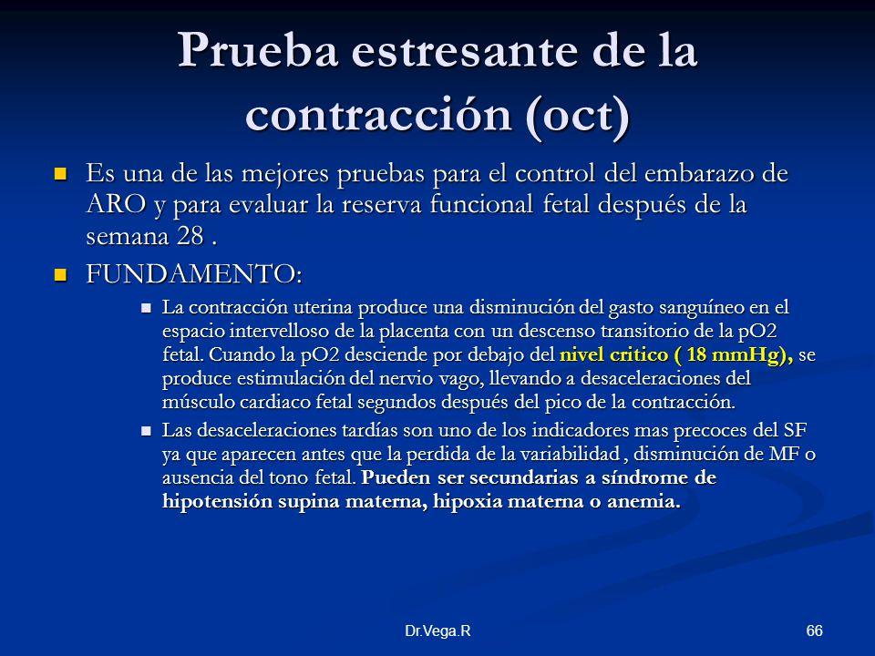 66Dr.Vega.R Prueba estresante de la contracción (oct) Es una de las mejores pruebas para el control del embarazo de ARO y para evaluar la reserva func