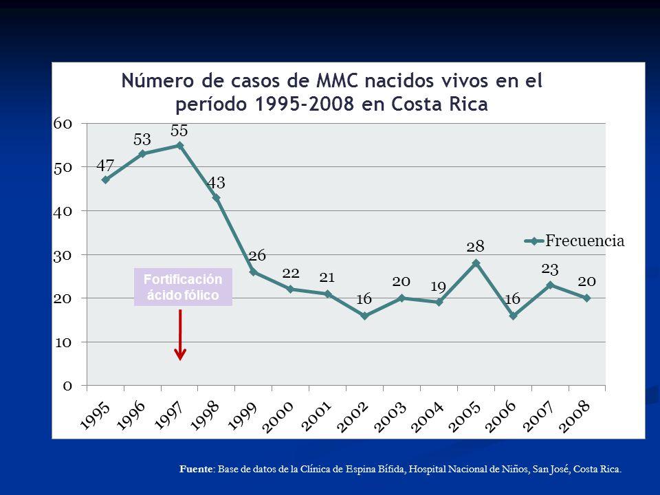 Fuente: Base de datos de la Clínica de Espina Bífida, Hospital Nacional de Niños, San José, Costa Rica. Fortificación ácido fólico