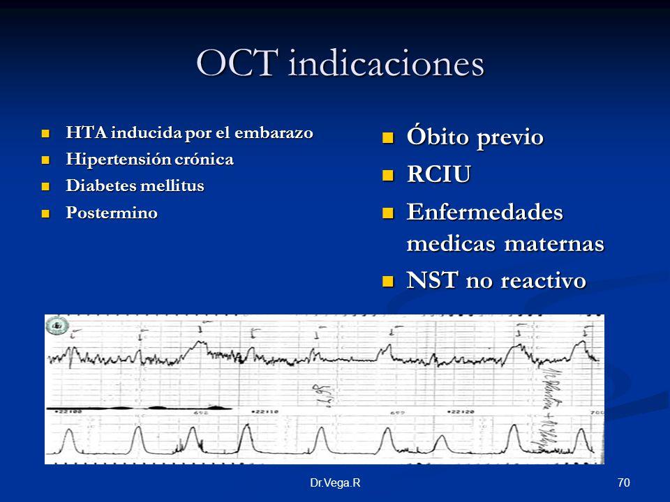 70Dr.Vega.R OCT indicaciones OCT indicaciones HTA inducida por el embarazo HTA inducida por el embarazo Hipertensión crónica Hipertensión crónica Diab