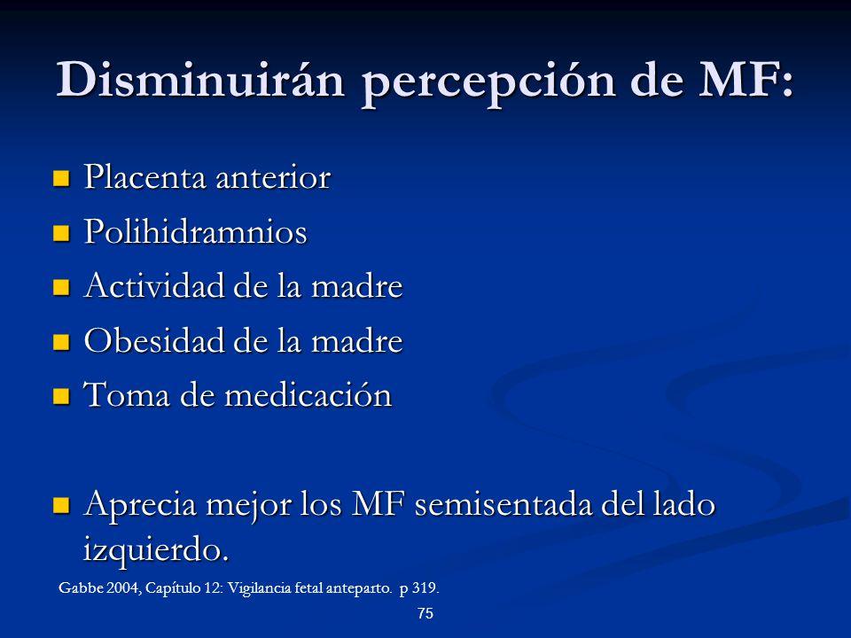 Disminuirán percepción de MF: Placenta anterior Placenta anterior Polihidramnios Polihidramnios Actividad de la madre Actividad de la madre Obesidad d