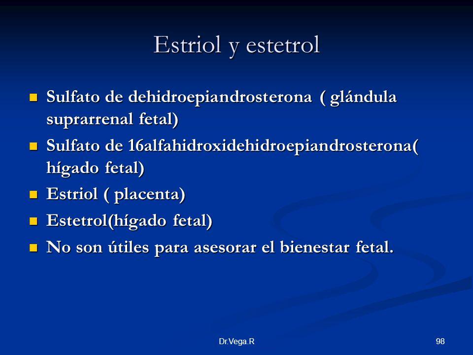 98Dr.Vega.R Estriol y estetrol Sulfato de dehidroepiandrosterona ( glándula suprarrenal fetal) Sulfato de dehidroepiandrosterona ( glándula suprarrena