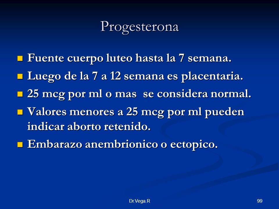99Dr.Vega.R Progesterona Fuente cuerpo luteo hasta la 7 semana. Fuente cuerpo luteo hasta la 7 semana. Luego de la 7 a 12 semana es placentaria. Luego