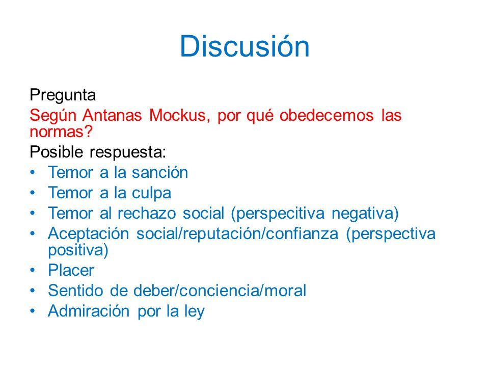 Discusión Pregunta Según Antanas Mockus, por qué obedecemos las normas? Posible respuesta: Temor a la sanción Temor a la culpa Temor al rechazo social