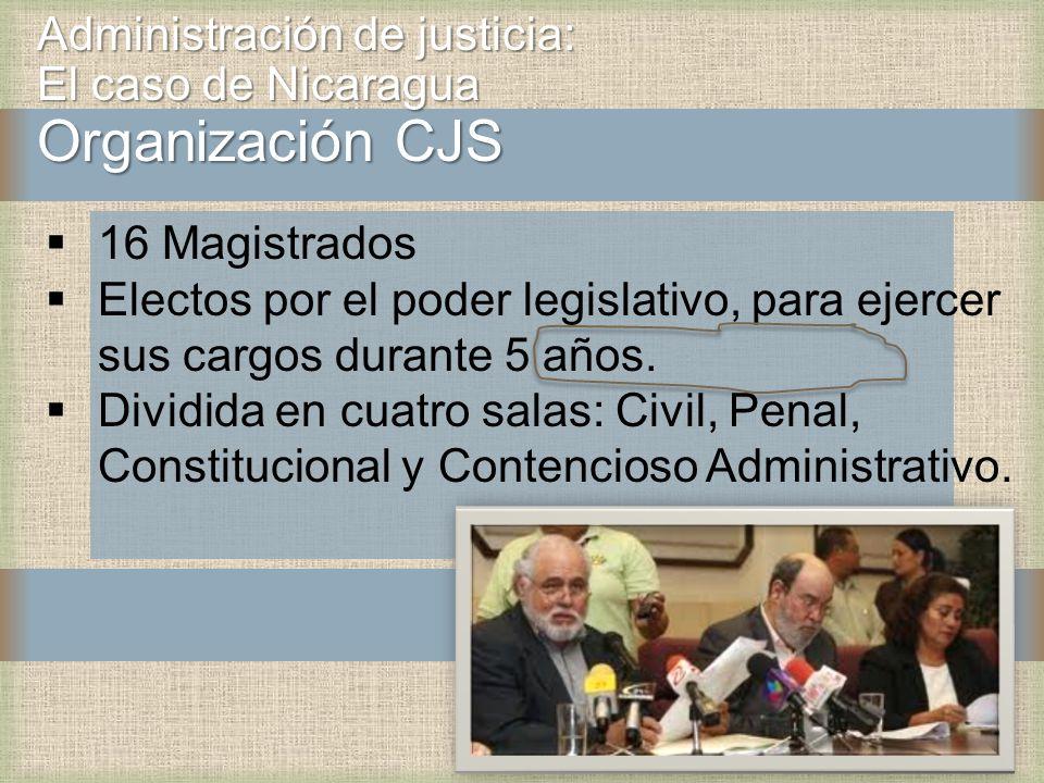 Administración de justicia: El caso de Nicaragua Organización CJS 16 Magistrados Electos por el poder legislativo, para ejercer sus cargos durante 5 años.