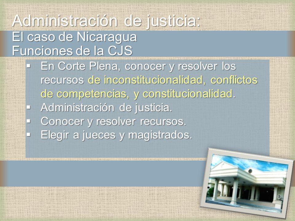 Administración de justicia: El caso de Nicaragua Funciones de la CJS En Corte Plena, conocer y resolver los recursos de inconstitucionalidad, conflict