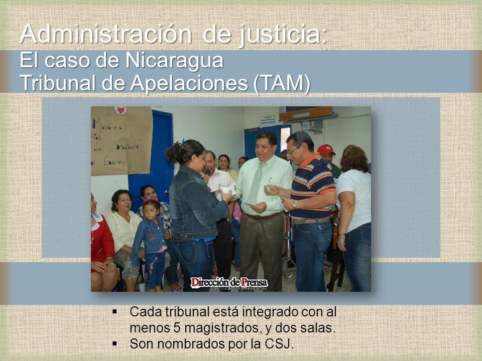 Administración de justicia: El caso de Nicaragua Tribunal de Apelaciones (TAM) Cada tribunal está integrado con al menos 5 magistrados, y dos salas. S
