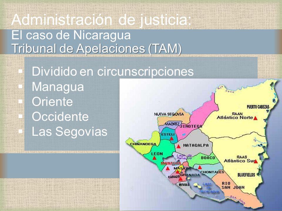 Tribunal de Apelaciones (TAM) Administración de justicia: El caso de Nicaragua Tribunal de Apelaciones (TAM) Dividido en circunscripciones Managua Oriente Occidente Las Segovias