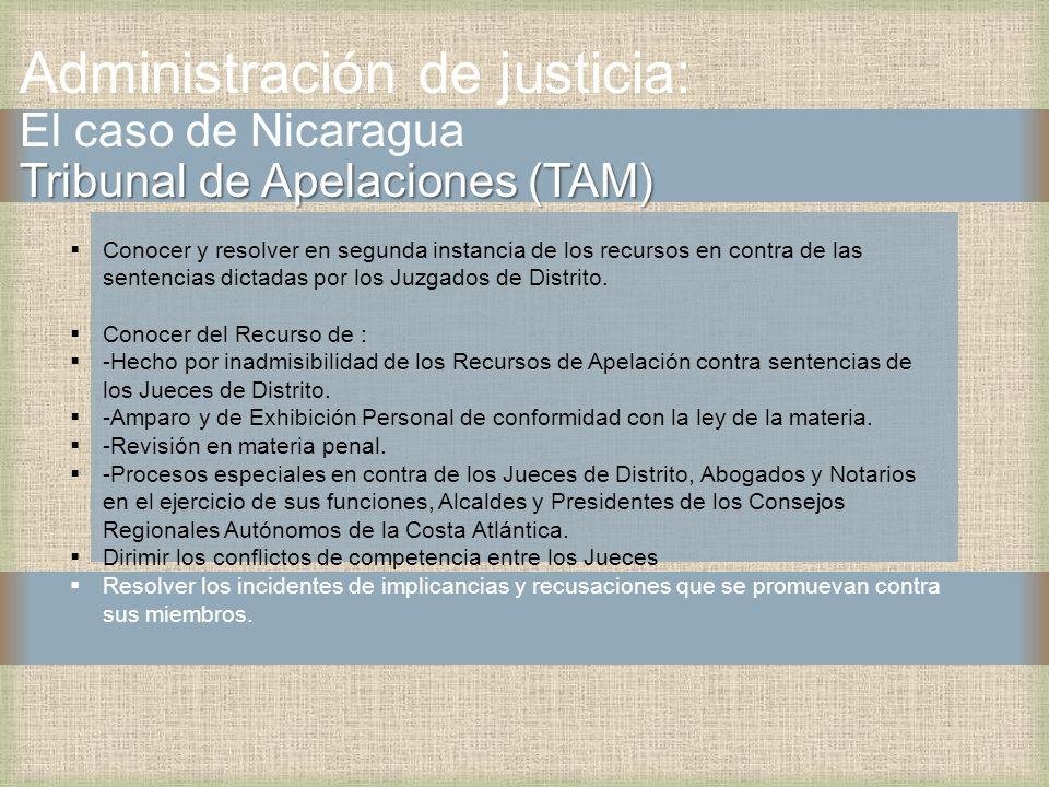 Tribunal de Apelaciones (TAM) Administración de justicia: El caso de Nicaragua Tribunal de Apelaciones (TAM) Conocer y resolver en segunda instancia de los recursos en contra de las sentencias dictadas por los Juzgados de Distrito.