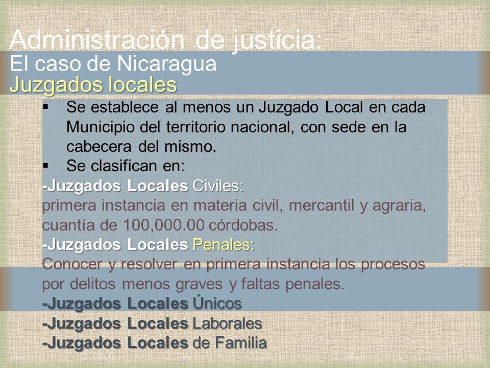 Se establece al menos un Juzgado Local en cada Municipio del territorio nacional, con sede en la cabecera del mismo. Se clasifican en: -Juzgados Local