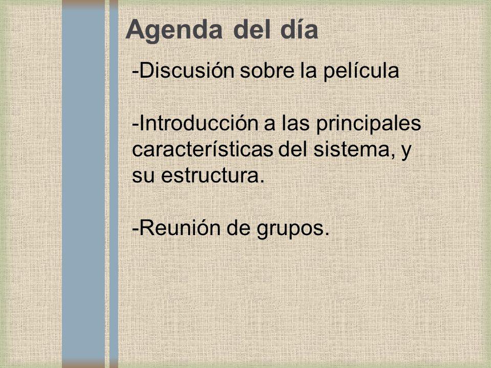 Agenda del día -Discusión sobre la película -Introducción a las principales características del sistema, y su estructura. -Reunión de grupos.
