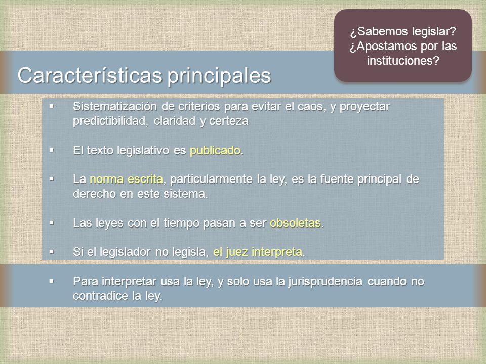 Características principales Sistematización de criterios para evitar el caos, y proyectar predictibilidad, claridad y certeza Sistematización de criterios para evitar el caos, y proyectar predictibilidad, claridad y certeza El texto legislativo es publicado.