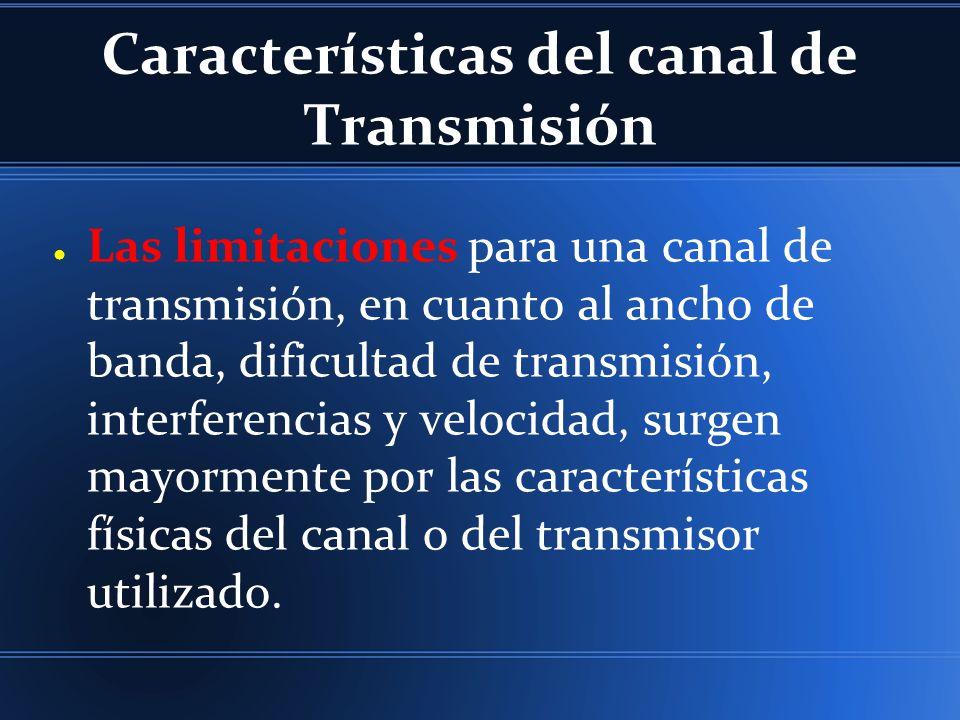 Características del canal de Transmisión Las limitaciones para una canal de transmisión, en cuanto al ancho de banda, dificultad de transmisión, inter