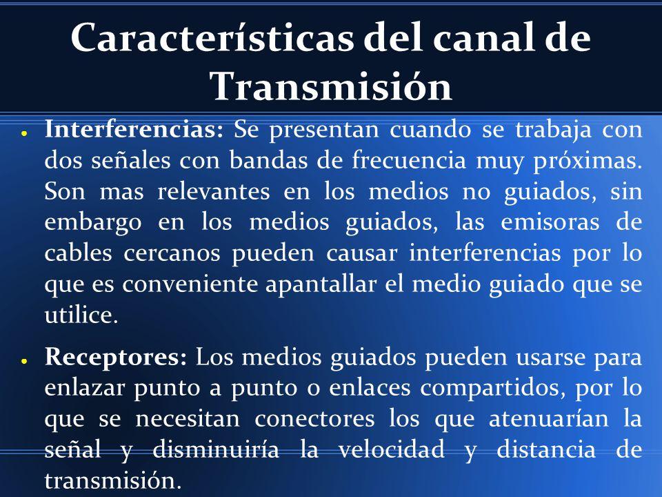 Características del canal de Transmisión Interferencias: Se presentan cuando se trabaja con dos señales con bandas de frecuencia muy próximas. Son mas