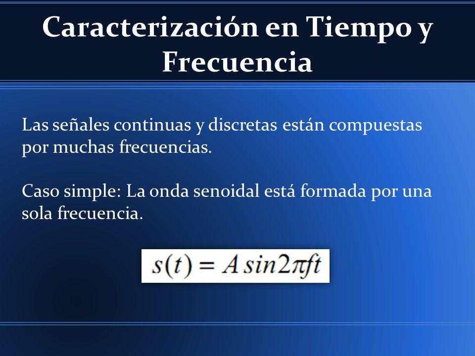 Las señales continuas y discretas están compuestas por muchas frecuencias. Caso simple: La onda senoidal está formada por una sola frecuencia.