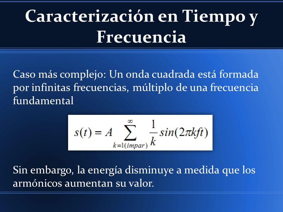 Caracterización en Tiempo y Frecuencia Caso más complejo: Un onda cuadrada está formada por infinitas frecuencias, múltiplo de una frecuencia fundamental Sin embargo, la energía disminuye a medida que los armónicos aumentan su valor.