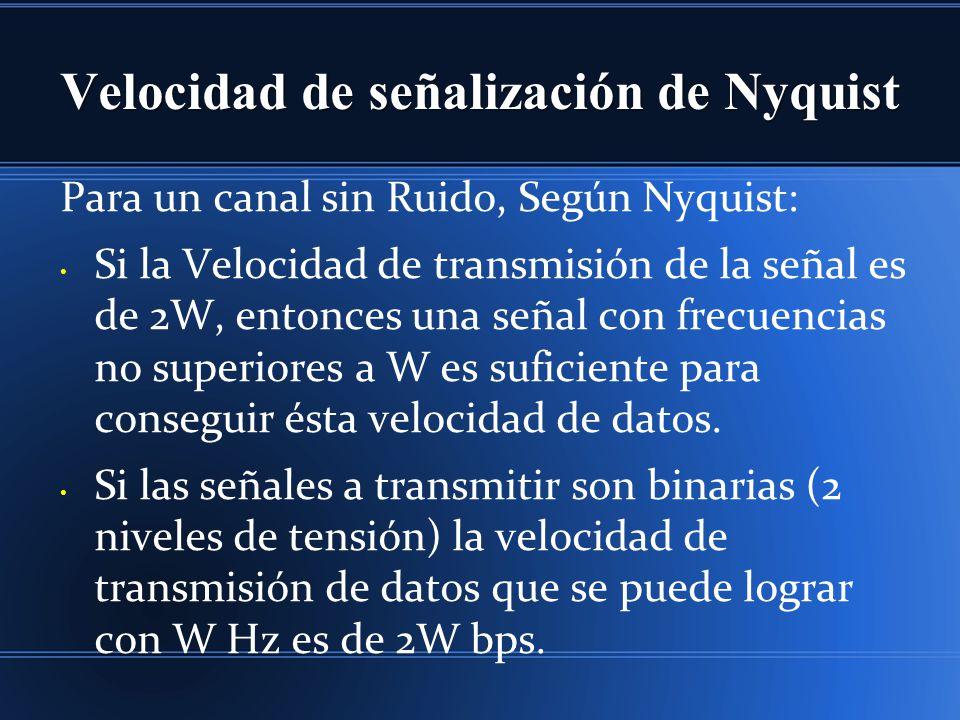 Velocidad de señalización de Nyquist Para un canal sin Ruido, Según Nyquist: Si la Velocidad de transmisión de la señal es de 2W, entonces una señal con frecuencias no superiores a W es suficiente para conseguir ésta velocidad de datos.