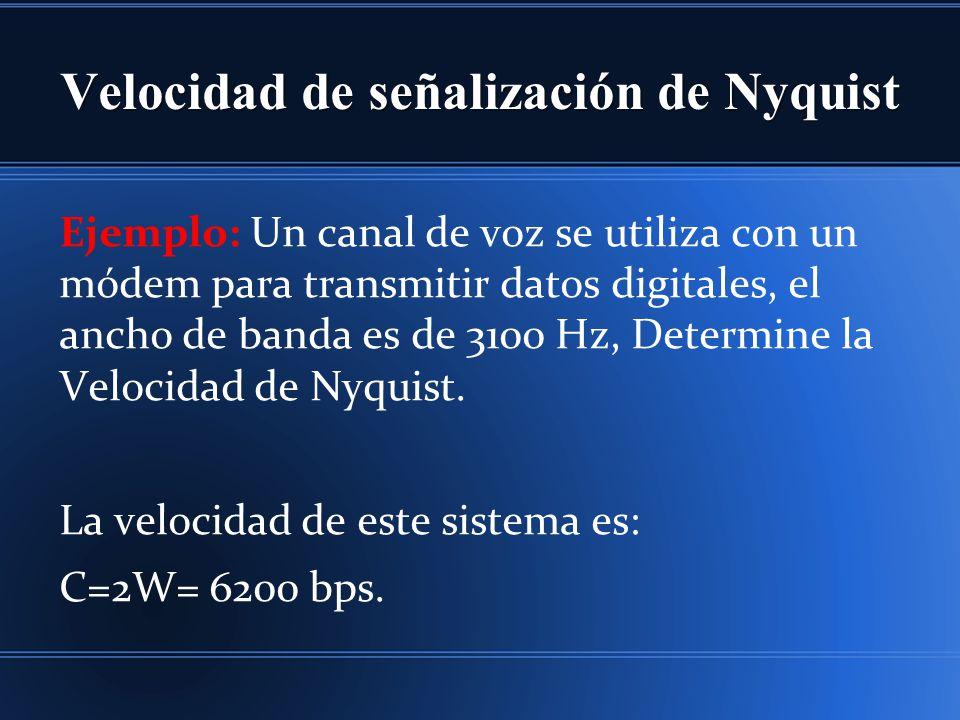 Velocidad de señalización de Nyquist Ejemplo: Un canal de voz se utiliza con un módem para transmitir datos digitales, el ancho de banda es de 3100 Hz, Determine la Velocidad de Nyquist.