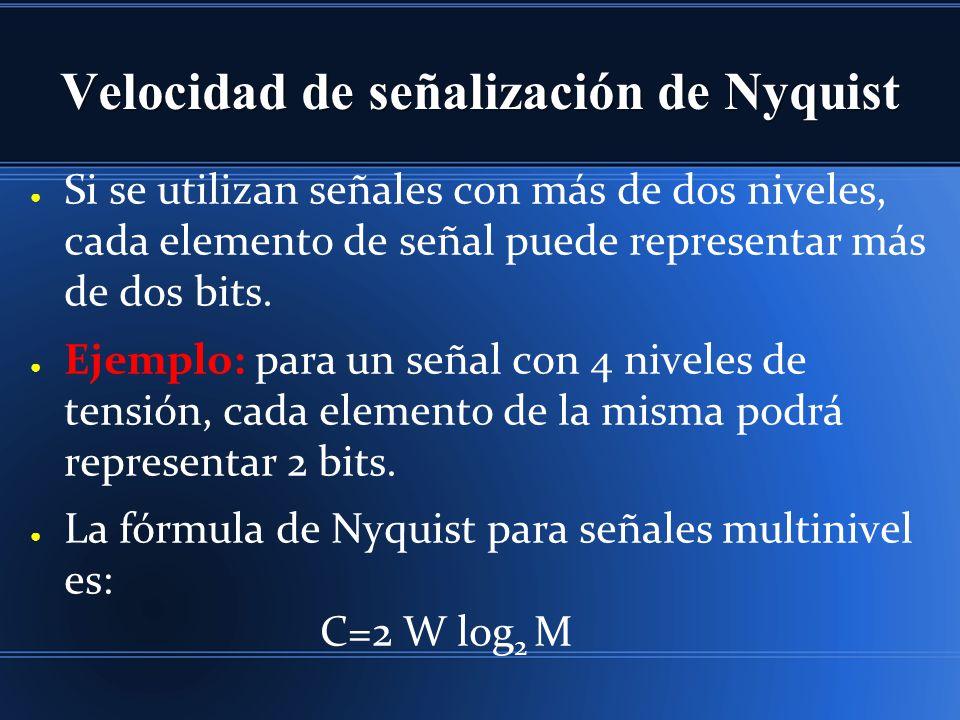 Velocidad de señalización de Nyquist Si se utilizan señales con más de dos niveles, cada elemento de señal puede representar más de dos bits. Ejemplo: