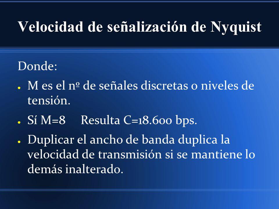 Velocidad de señalización de Nyquist Donde: M es el nº de señales discretas o niveles de tensión. Sí M=8 Resulta C=18.600 bps. Duplicar el ancho de ba