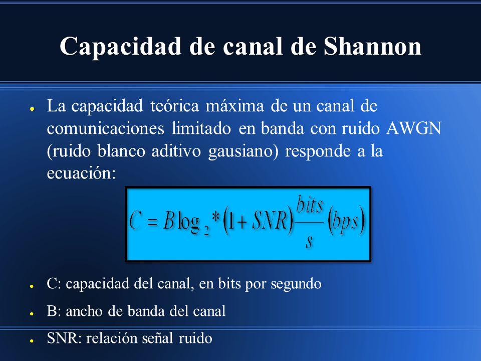 Capacidad de canal de Shannon La capacidad teórica máxima de un canal de comunicaciones limitado en banda con ruido AWGN (ruido blanco aditivo gausiano) responde a la ecuación: C: capacidad del canal, en bits por segundo B: ancho de banda del canal SNR: relación señal ruido
