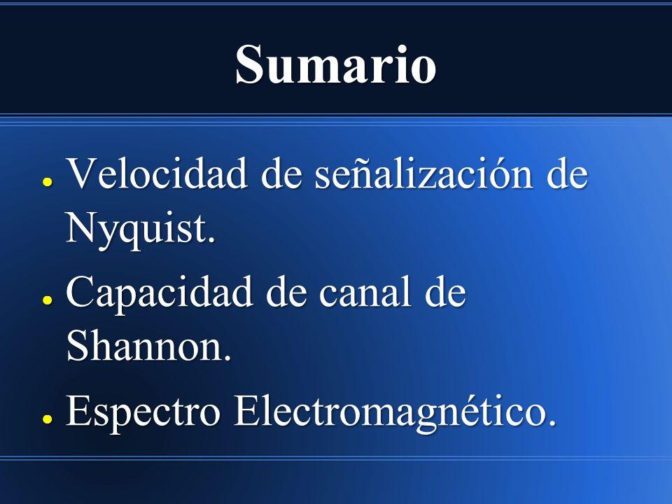 Sumario Velocidad de señalización de Nyquist. Velocidad de señalización de Nyquist. Capacidad de canal de Shannon. Capacidad de canal de Shannon. Espe