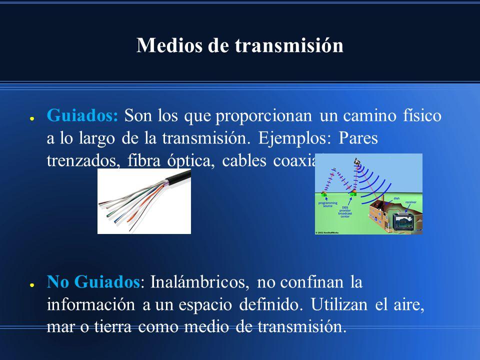 Medios de transmisión Guiados: Son los que proporcionan un camino físico a lo largo de la transmisión. Ejemplos: Pares trenzados, fibra óptica, cables