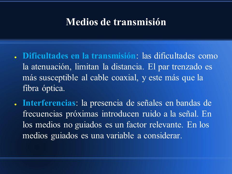 Medios de transmisión Dificultades en la transmisión: las dificultades como la atenuación, limitan la distancia. El par trenzado es más susceptible al