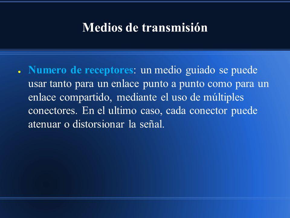 Medios de transmisión Numero de receptores: un medio guiado se puede usar tanto para un enlace punto a punto como para un enlace compartido, mediante el uso de múltiples conectores.
