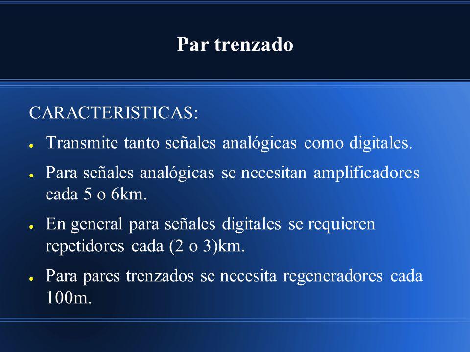 Par trenzado CARACTERISTICAS: Transmite tanto señales analógicas como digitales. Para señales analógicas se necesitan amplificadores cada 5 o 6km. En