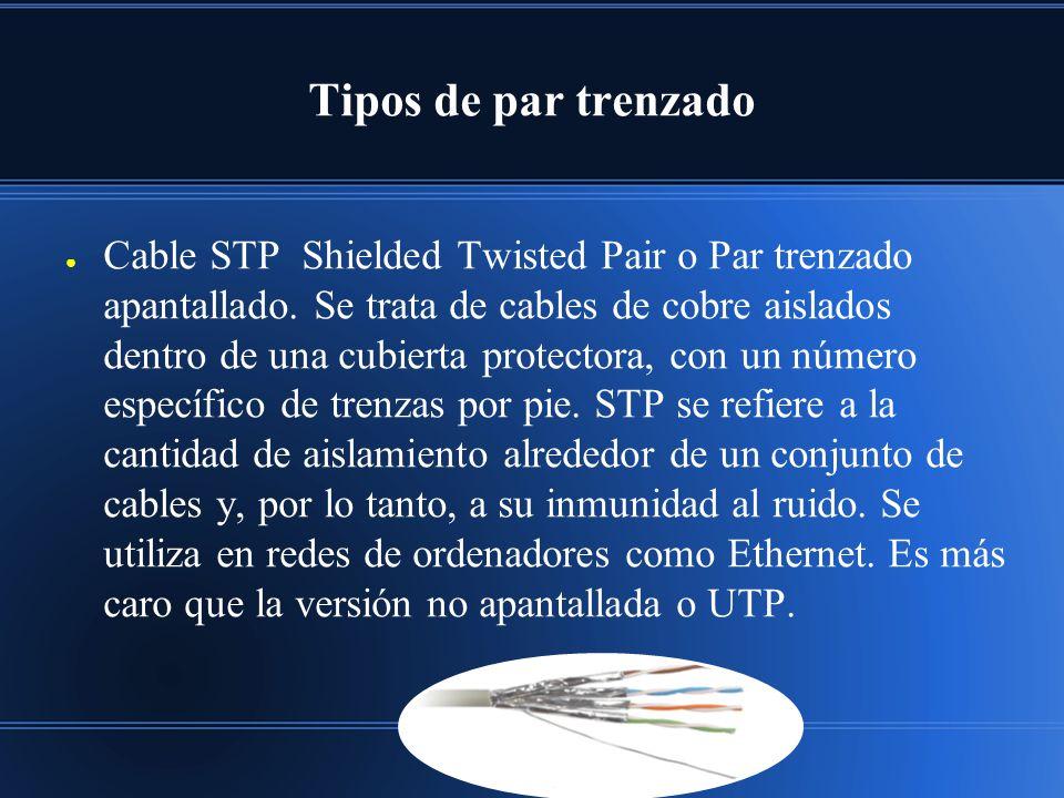 Tipos de par trenzado Cable STP Shielded Twisted Pair o Par trenzado apantallado. Se trata de cables de cobre aislados dentro de una cubierta protecto