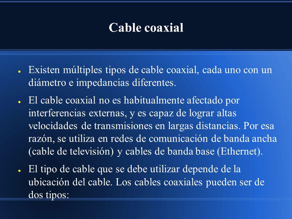 Cable coaxial Existen múltiples tipos de cable coaxial, cada uno con un diámetro e impedancias diferentes. El cable coaxial no es habitualmente afecta