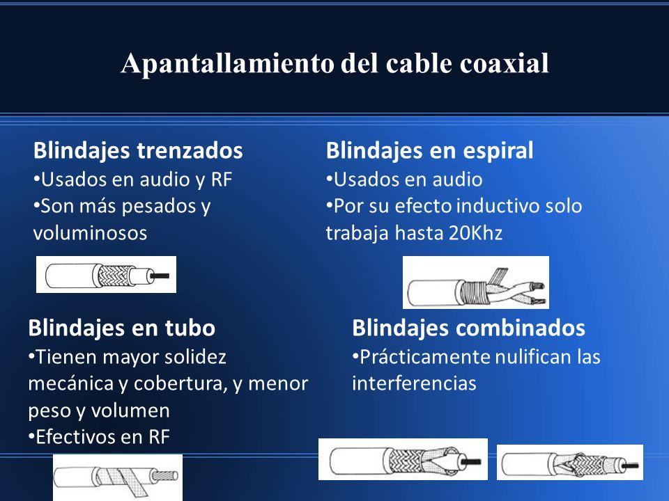 Apantallamiento del cable coaxial Blindajes trenzados Usados en audio y RF Son más pesados y voluminosos Blindajes en espiral Usados en audio Por su e