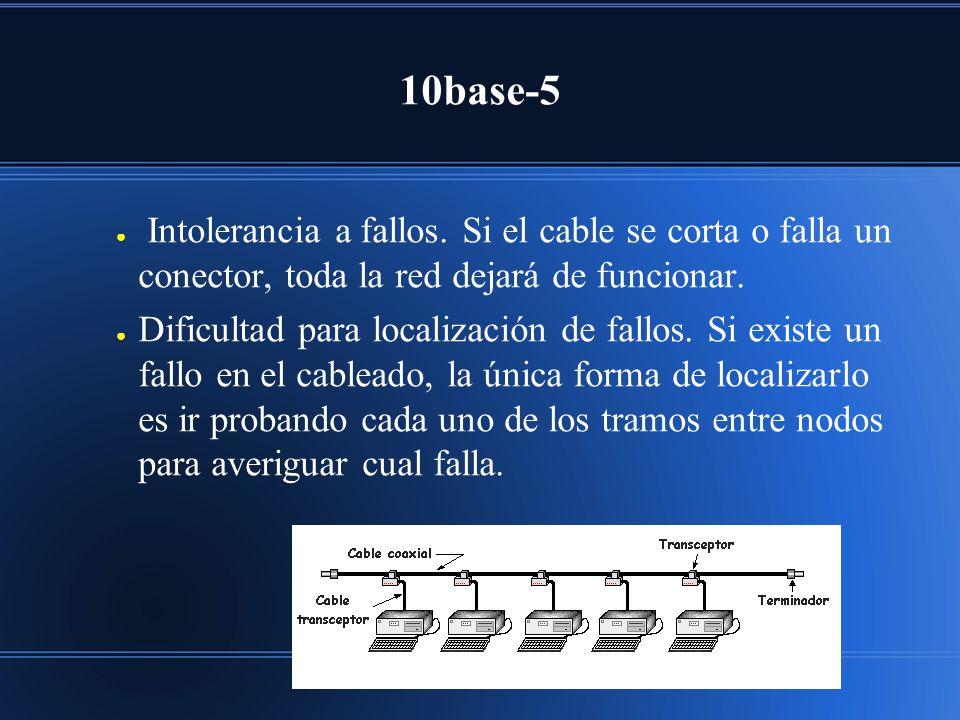10base-5 Intolerancia a fallos. Si el cable se corta o falla un conector, toda la red dejará de funcionar. Dificultad para localización de fallos. Si