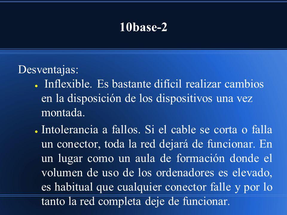 10base-2 Desventajas: Inflexible. Es bastante difícil realizar cambios en la disposición de los dispositivos una vez montada. Intolerancia a fallos. S
