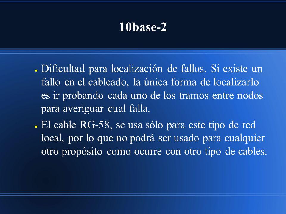 10base-2 Dificultad para localización de fallos. Si existe un fallo en el cableado, la única forma de localizarlo es ir probando cada uno de los tramo