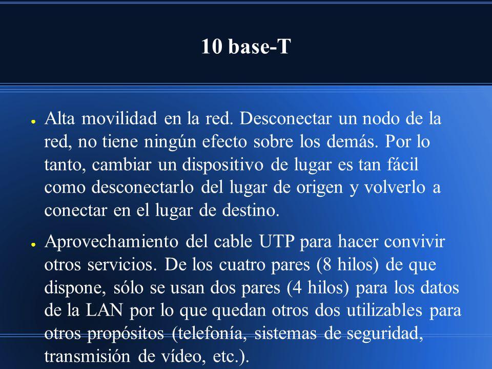 10 base-T Alta movilidad en la red.