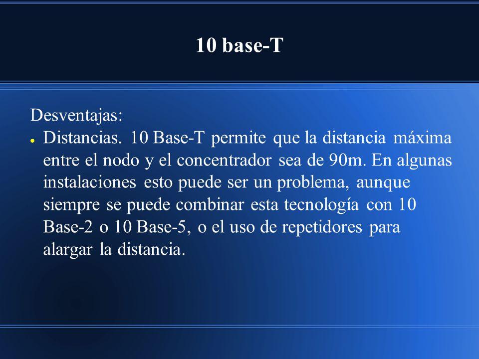 10 base-T Desventajas: Distancias. 10 Base-T permite que la distancia máxima entre el nodo y el concentrador sea de 90m. En algunas instalaciones esto