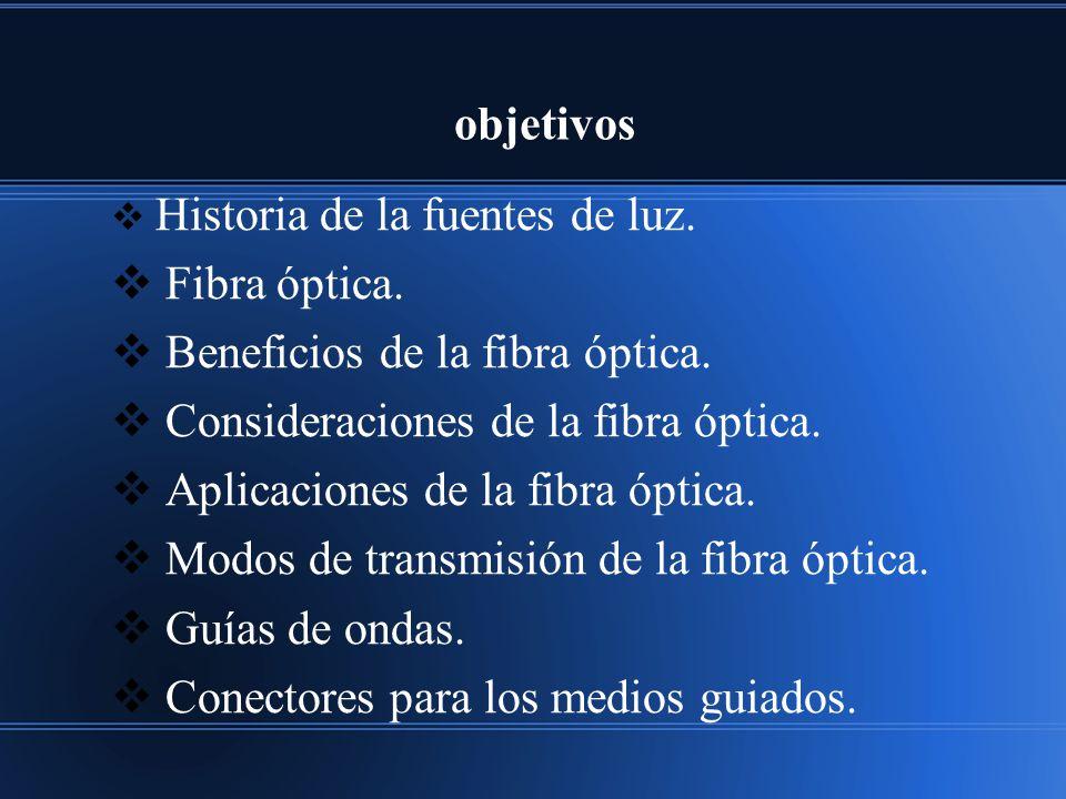 objetivos Historia de la fuentes de luz. Fibra óptica. Beneficios de la fibra óptica. Consideraciones de la fibra óptica. Aplicaciones de la fibra ópt